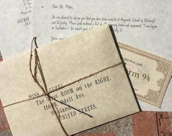 Personalized Wizard and Witch Acceptance letter with free travel ticket