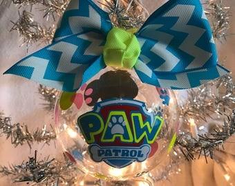 "Custom Hand Decorated 4"" Paw Patrol inspired Skye Christmas ornament"