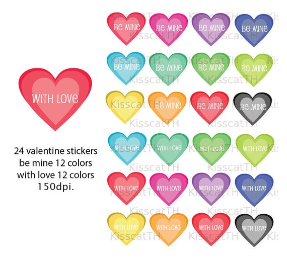 Love Theme Clipart Stickers Printable Heart Graphics Icons PNG Digital Scrapbooking Valentine From KisscatTH