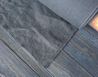 Washed graphite linen fabric by the meter, natural linen graphite fabric, dark gray washed stonewashed linen fabric by the yard 7oz 200GSM