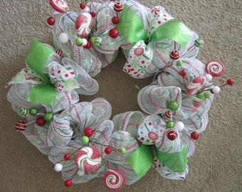 Whimsical Christmas Wreath; Candy Christmas Wreath; Christmas Wreath; red, white, green, front door wreath; Christmas; Holiday wreath, candy
