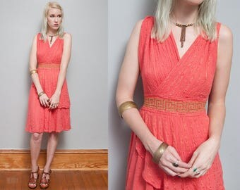 VTG 1970's I Coral & Gold Metallic I Greecian Style I Draped I 100% Cotton I Dress I S