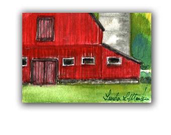 Dairy Red Barn Farm Country Baby Nursery llmartin Original ACEO New Mom Grandma Miniature Watercolor Father Dad Free Shipping USA Children