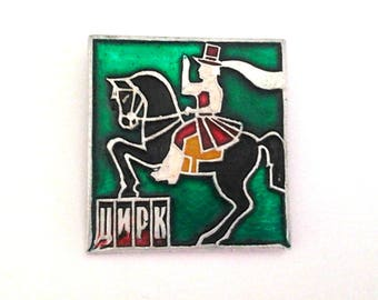 Circus, rider, vintage soviet pin badge / Horse / Made in USSR, 1970s. Vintage collectible badge.
