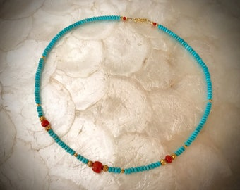 necklace with #8 turquoise beads antique vintage coral solid gold 18 karat 22 karat 750