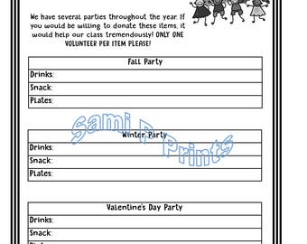 Printable Party Helpers Sign Up Page