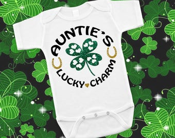 Auntie's Lucky Charm Irish St. Patricks Day Baby Shower Birthday Gift Idea Girl Boy Toddler Clothing Romper Shirt Tee Coming Home Cute