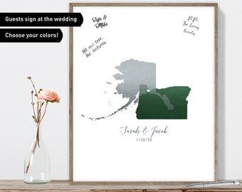 Map Wedding Guest Book Alternative / Love Map: Oregon & Alaska Map / Faux Metallic Forest Green, Silver Guestbook / Canvas or Framed Print