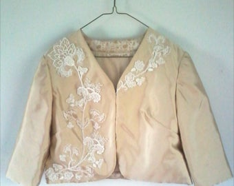 Women's Vintage Champagne Gold Color Blazer Hand Embroidered Lace Jacket Lace Blazer