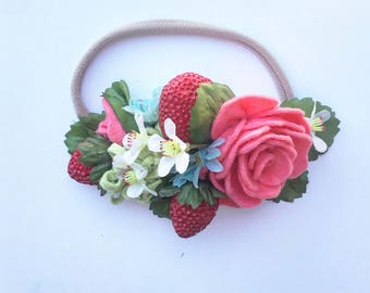Fresh Strawberries and Cream felt flower crown