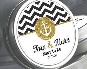 12 Wedding Mint Tin Favors - Anchor Wedding Favors - Anchor Decorations - Anchor Wedding Mementos - Anchor Wedding Mints