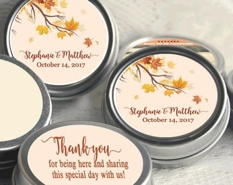 12 Personalized Fall Mint Tins -  Autumn -  Rustic Wedding - Fall Bridal Shower - Mint Favor Keepsake -  Thank You Gift - Fall in Love