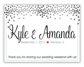 "4"" x 3""  Personalized Welcome Box Labels -  30 Wedding Welcome Bag Labels - Favor Labels - Welcome Stickers - Box Stickers - Silver Dots"