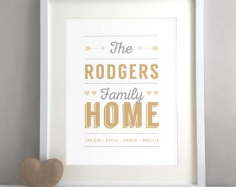 Retro New Home Gift, Housewarming Gift, Personalised Print, Family Sign, Home Decor, Family Name, Unique, Wall Art, Poster (Unframed)