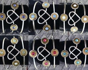Bullet Silver Heart Bangel Bracelet