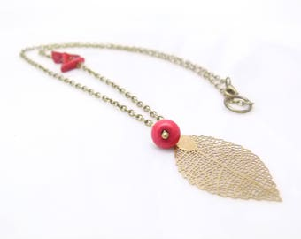 Bohemian style Necklace ~ () ~ coral ~ () ~