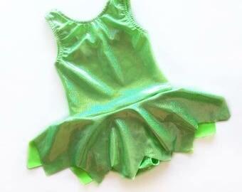 Tinkebell leotard - tinkerbell costume- fairy costume- pixie leotard- baby toddler girls- dancewear- green leotard- sparkly leotard- dance