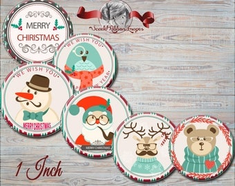 Retro Christmas Bottle Cap images 1 inch -  600dpi, Collage Sheet, Holiday Bows, Pendants, Labels, Cupcake topper, Gift Tags, BottleCap