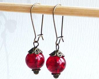 KIT earrings Crackle glass beads