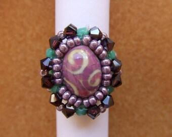 Ring handmade Bohemian tops swarovski crystal Pearl