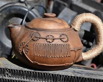 Clay Teapot, Stoneware Teapot,  Ceramic Tea Maker, Pottery Kettle