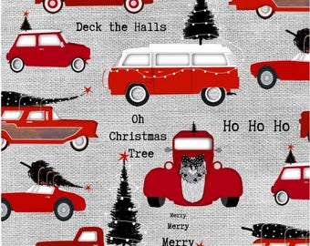 Around Town Christmas by Studio E - Cars Allover Grey - Cotton Woven Fabric
