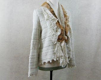 Romantic Sweater, Refashion Clothing, Lace Sweater, Lace Cardigan, Boho Clothing, Lace Clothing, White Lace Sweater, Gift for Her