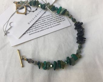 Loving fields. Gold plated sterling silver bracelet with shungite, malachite, moss  Agate, abd aventurine.