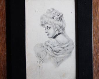 Vintage Framed 1911 Post Card Portrait of a Woman Black and White Posted