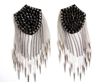 2 PCS.Smoky Stud  Epaulet,Silver Spiked Epaulette,Smoky  Studs Pads with Silver and Smoky  Chain,Shoulder Embellishment,Silver Epaulette,