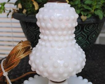 Vintage Hobnail Milk Glass Table Lamp