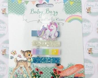 Unicorn fringe clip Set. Three additional fringe hair clips.