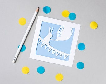 "Rabbit ""Happy Birthday"" Papercut Card"