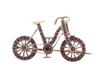 Figural Victorian Garnet & Gilt Silver Bicycle Pin