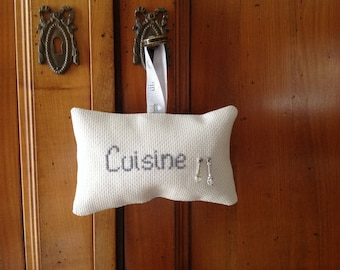 Pillow of door or window kitchen whisk and spoon charms