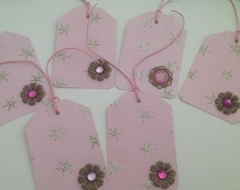 Matching set of 6 pink tags and metal cabochons
