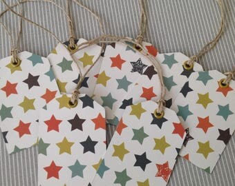 7 pattern gift tags-star. Set of 22.
