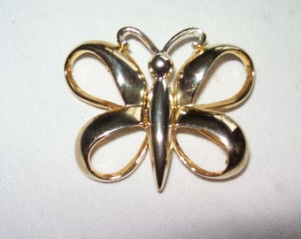 """Butterfly  Brooch- Vintage Silver and Gold 2"""" by 1-1/2"""" Pin Open Wing - Great Condition"""