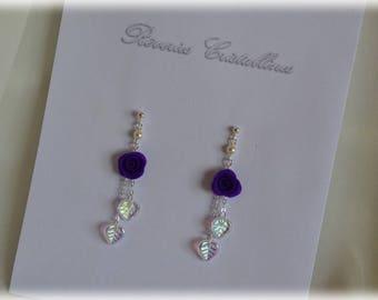 Wedding purple and silver and glass earrings, rose porcelain - wedding, bridal earrings, purple earrings jewelry