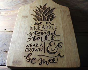 Personalized Cutting Board, Pineapple Cutting Board, Pineapple Decor, Pineapple Gifts, Inspirational Gifts, Stand Tall Pineapple, Wedding