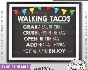 "Walking Tacos Sign, Taco Bar Taco Sign, Cinco de Mayo, Sweet Sixteen Birthday Graduation 8x10"" Chalkboard Style Printable Instant Download"