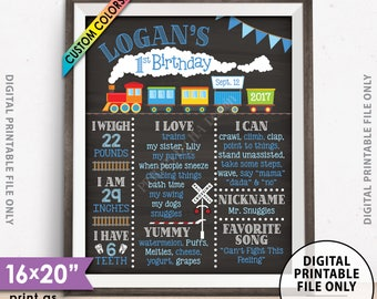 "Train Birthday Poster, Train Theme 1st Birthday Board, Birthday Stats Milestones, Chalkboard Style PRINTABLE 8x10/16x20"" Custom B-day Board"