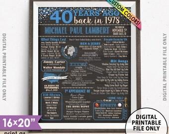 "40th Birthday Gift 1978 Birthday Poster, Back in 1978 Flashback 40 Years Ago, Custom Chalkboard Style PRINTABLE 8x10/16x20"" 1978 Bday Poster"