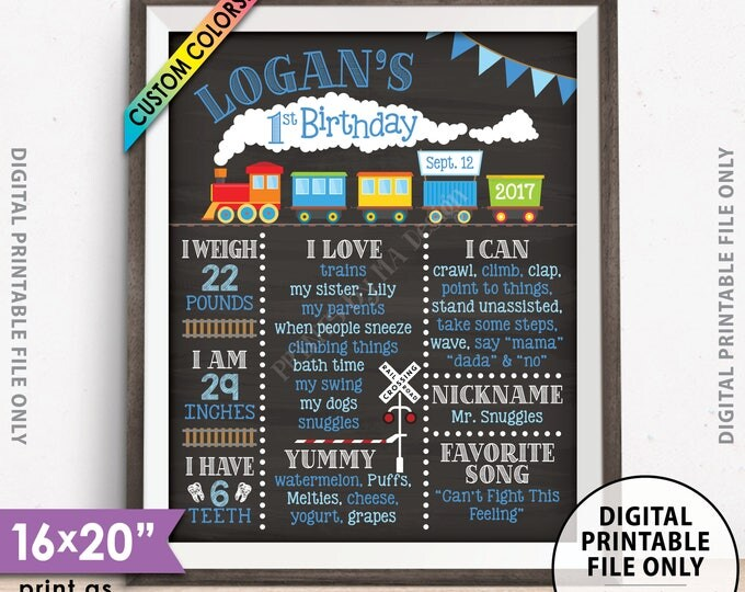 "Train Birthday Poster, Train Theme Birthday Board, Birthday Stats Milestones, Chalkboard Style PRINTABLE 8x10/16x20"" Custom B-day Board"