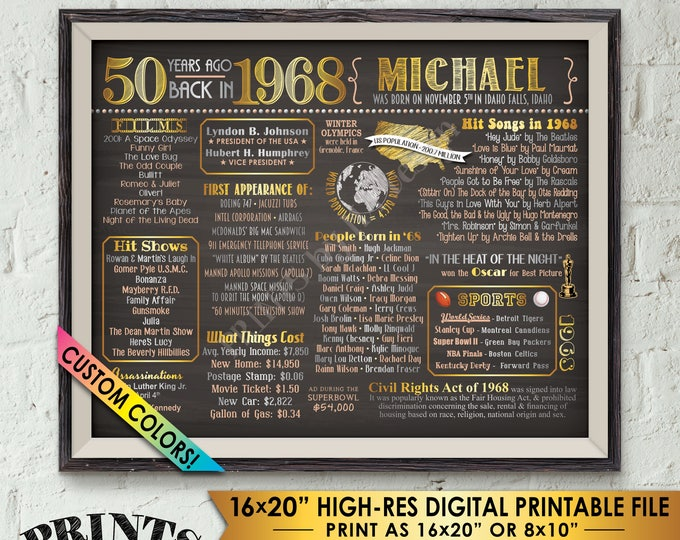 """50th Birthday Gift Back in 1968 Poster Flashback to 1968 Flashback 50 Years Ago 50th Bday Chalkboard Style PRINTABLE 8x10/16x20"""" 1968 Poster"""