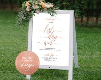 Editable PDF Welcome Sign Calligraphic The Best Day Ever Rose Gold Wedding Ceremony Welcome Board Instant download printable sign #DP140_03