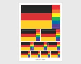 German Pride Flag Weatherproof Sticker Sheet / 10 Flag Stickers Various Sizes