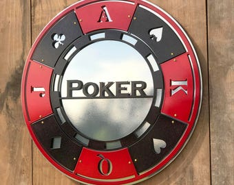 Man Cave - Classic Black and Red Poker Chip - Card Room - Wall Art