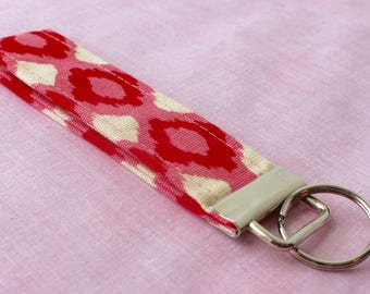 Pink and Red Patterned Key Fob