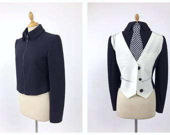 MOSCHINO vintage 1990s 'illusion' back vest black jacket - size S